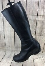Womens MERRELL 'Plaza Peak Black Leather Knee High Zip Up Boots Size 7