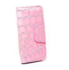 iPhone 4 Card Wallet Flip Crocodile Case - Pink