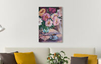 ORIGINAL Handmade Oil on Canvas Impressionist Flower Painting - Colorful Peonies