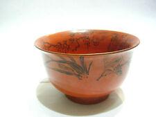 Japanese Vintage Okimono Flower lacquer ware Soup Noodle Rice Bowl Japon Nippon