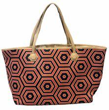 Johnathan Adler Geometric Print Red Blue Large Tote Shoulder Bag Handbag