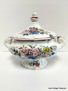 Vintage Large  Floral Soup Tureen, Circa 1940's - 50's, Mid Century Modern
