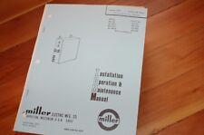 Miller Welder Model WC 20 E ES ESC Owner Operator Operation Maintenance Manual