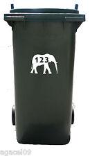 Sticky Autoadhesivo Elefante Vinilo Wheelie Bin Número Adhesivo Calcomanía Stencil