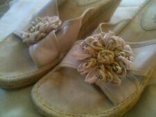 "Bare Traps Cream ""Narda"" Espadrile Sandals w/ Floral Accent Size 6"