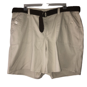 Venezia Womens Size 26 Light Beige Flat Front Pockets Belted Chino Casual Shorts