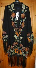 French Connection FCUK Black long kimono w embroidered flowers & tassels BNWT 10