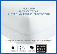 100% Cotton Anti Bed Bug Zipped Full Mattress Protector Total Encasement Cover