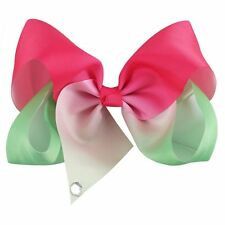 2 Tone 7inch Large Giant Dance Boutique Bows Girls' Hair Clip(Fuchsia &Green)
