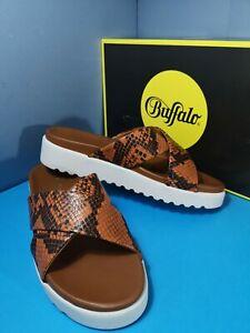 Buffalo Javia Snake Look Leather Cognac-Brown Women's Sandals size uk 5