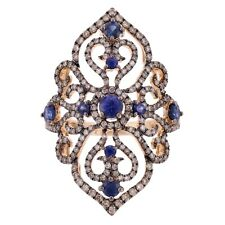 18k Rose & Black 1.60ctw Sapphire & Brown Diamond Vintage Style Filigree Ring