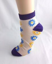 Ankle sheer socks flowers purple white blue yellow gray see through