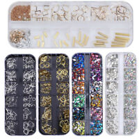 Nail Art Rhinestones Case Assorted Mix Gem Designs Tips UV Gel Decoration DIY