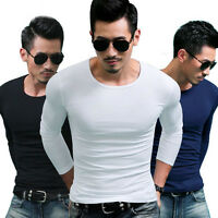 M-XXXL Men Slim Fit Long Sleeve T-shirts Base Shirt Tops Casual Pullover Round