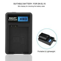 EN-EL15 Battery Charger Single Slot USB Charging with LCD Screen for Nikon D600