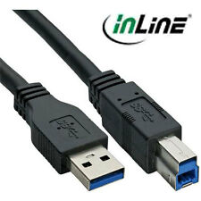 Inline USB 3.0 SuperSpeed cable, a a b, negro, 2 metros