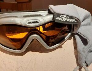 Alpina Skibrille Doubleflex silber schneebrille mit säckchen