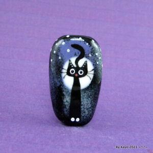 """THE LOONEY ECLIPSE"" a handmade lampwork glass CAT pendant focal bead byKayo SRA"