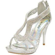 New women's shoes rhinestones stilettos back zipper party prom wedding silver