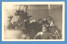 *LATVIA LETTLAND RADIO SOLDIERS DRINK BEER VINTAGE PHOTO PODTCARD   3453