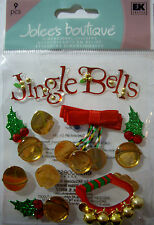 NEW 9 pc JINGLE BELLS Sleigh Bells Holly Christmas Santa JOLEE'S 3D Stickers