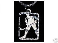 LOOK Hockey Stick puck Pendant Sports Charm Sterling Silver 925 Jewelry New