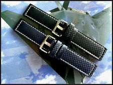 24mm XL Carbon Fiber Black Blue Aviator Military Pilot watchband strap IW SUISSE