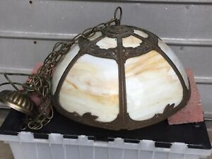 Antique Victorian  Style Slag Glass Hanging Lamp