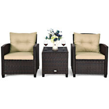 3 Pcs Patio Rattan Furniture Set Conversation Set Cushioned Sofa Garden Deck