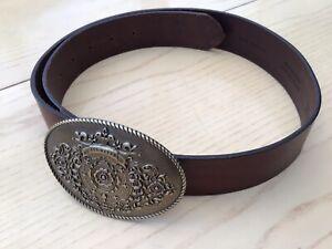 Ted Baker Mens Brown Leather Belt Oval Embossed Metal Buckle