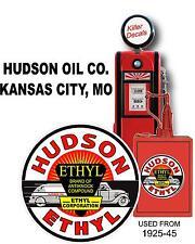 """(HUDSON-2) 12"""" 1925-45 HUDSON ETHYLTRUCK TANKER GASOLINE DECAL OIL CAN / GASPUMP"""