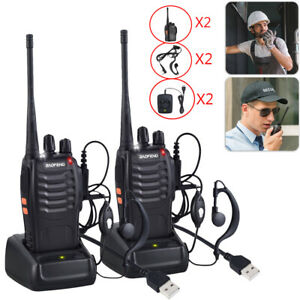 UK 2xPACK Baofeng Walkie Talkies Long Range Two Way Radio UHF 16CH with Headsets