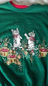 Vtg 90's Sweatshirt Festive Fall Kitties playing in leaves/ Ugly Christmas