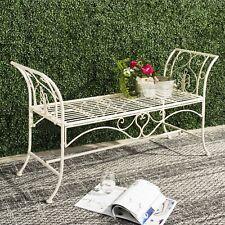 Outdoor Wrought Iron Metal Rustic Garden Bench Patio Porch Furniture Chair Seat