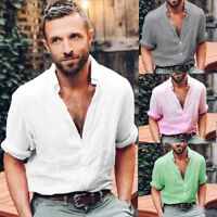HOT Men Stylish Linen Long Sleeve Shirt Cool Loose Casual Shirts V-Neck Tops CG