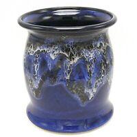 """Utensil Holder Studio Pottery Vase Blue White Drip Glaze Barrel-Shaped Signed 7"""""""