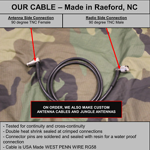 Antenna Relocation Kit PRC-152, MBITR (3ft) Right Angle Connectors