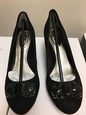 Retail Alfani Black Suede Ornamented Dannah Platform PUMPS Size 9m