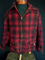 VERY RARE COLLECTOR VINTAGE 1930'S-1940'S RED & BLACK HEAVY WOOL JACKET SIZE XL+