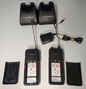Motorola Radius SP50 Walkie Talkies W/ HTN9014B CHARGER X2 POWER SUPPLY NO BAT