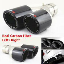 Pair Glossy Black Real Carbon Fiber Car Dual Pipe Exhaust Pipe Tail Muffler Tip