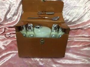 Vintage Portable Travel Bar Flask Set leather case 5 Bottles Antique Case Prop