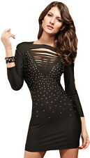 Women's Long Sleeve Torn Little Black Dress, Mini Dress Petite, Black S/M 4-8