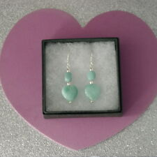 Beautiful Earrings With Heart Shape Brazilian Aquamarine 4 Cm Long+ Hooks In Box