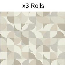 x3 Rolls Rasch Geometric Grey White Vinyl Wallpaper