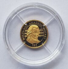 2000 LIBERIA MOZART 0.999 FINE GOLD PROOF $25 - WORLDS SMALLEST COINS