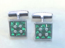 Silver white gold plated Cufflinks  CUF01 (Red-Green-Blue Zirkon selection)