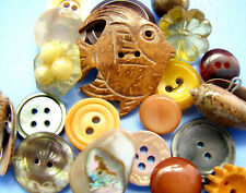 Vintage Lot Theme Buttons UNDER THE SEA Coconut Shell Fish MOP Shell Bakelite