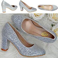 Women High Block Heel Court Shoes Sparkly Glitter Party Wedding Dress Pumps Size