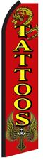 TATTOOS Red Yellow Ink Swooper Flag Vertical Feather Flutter Banner Bow Sign